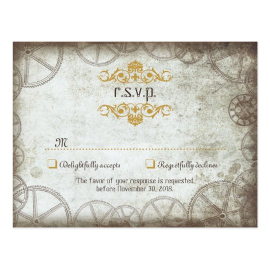 Industrial Vintage Steampunk Wedding Postcard