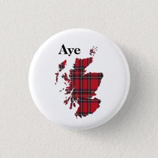 #indyref Tartan Aye Scotland Pinback 3 Cm Round Badge