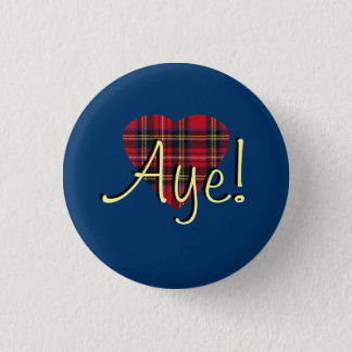 #indyref Tartan Heart Yes Scotland Pinback 3 Cm Round Badge