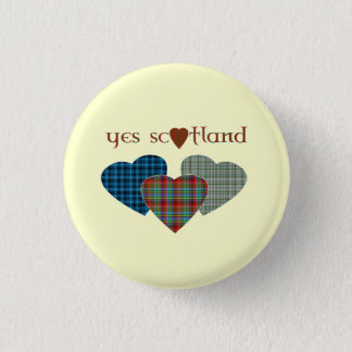 #indyref Tartan Love Heart Yes Scotland Pinback 3 Cm Round Badge