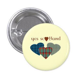 #indyref Tartan Love Heart Yes Scotland Pinback 3 Cm Round Badge
