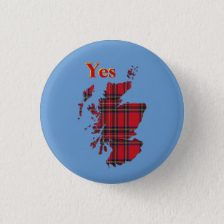 #indyref Tartan Yes Scotland Pinback 3 Cm Round Badge