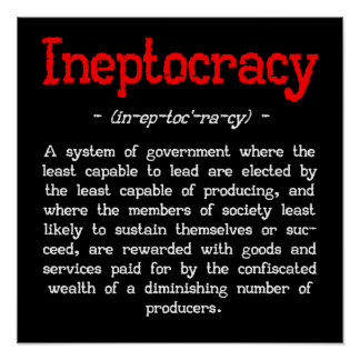 "Ineptocracy Definition Poster (small 16""X16"")"