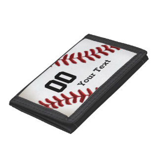 Inexpensive Baseball Gifts Your NAME and NUMBER Trifold Wallets
