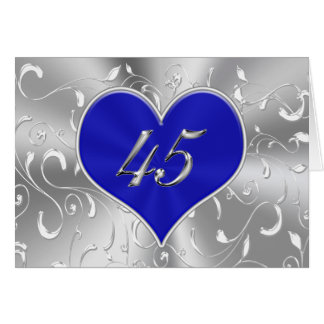 Inexpensive Blue 45th Wedding Anniversary Cards
