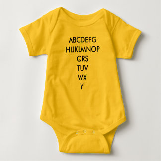 Infant alphabet baby bodysuit