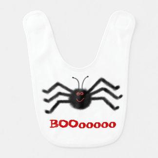 Infant Baby Bib Black Spider BOOooooo Halloween