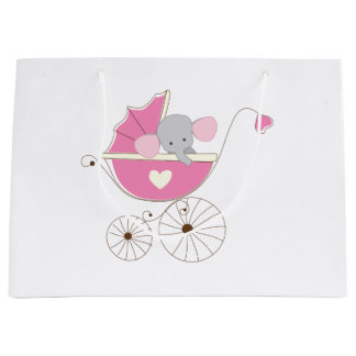 Infant Baby Girl Pink Elephant Large Gift Bag