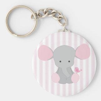 Infant Baby Girl Pink Elephant w/Stripes Basic Round Button Key Ring