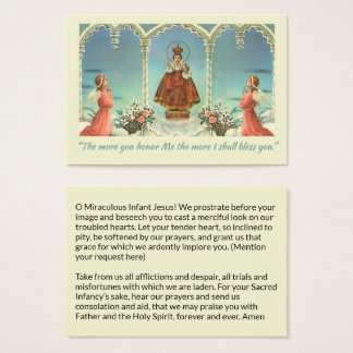 Infant Jesus of Prague Angels Prayer Business Card