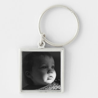 Infant Key fob Silver-Colored Square Key Ring