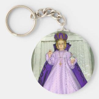 Infant of Prague Statue Basic Round Button Key Ring