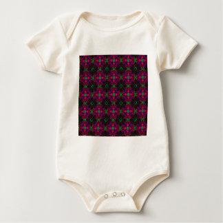 Infant Organic Creeper- Fractal Pattern pink green Baby Bodysuit