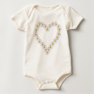 Infant Organic Creeper: Heart-shaped Daisy Chain Baby Bodysuit