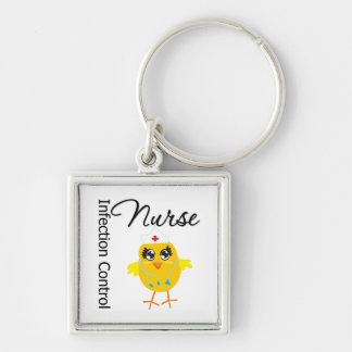 Infection Control Nurse Chick v1 Silver-Colored Square Key Ring