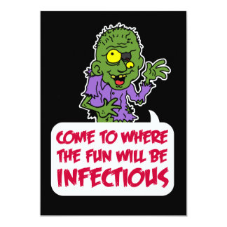Infectious Fun Zombie Cartoon Halloween Party Card