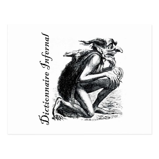 Infernal Dictionary - imp looking a bit nervous Post Card