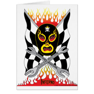 Inferno Luchador Mexican Wrestler Greeting Card