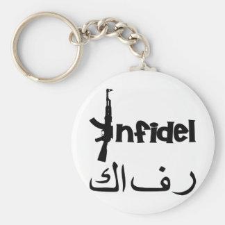 Infidel w AK-47 Basic Round Button Key Ring