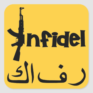 Infidel w AK-47 Square Sticker