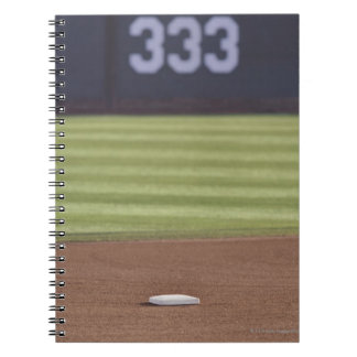 Infield, second base, outfield, and 333 foot notebook