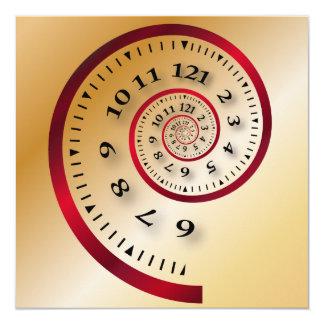 Infinite clock 13 cm x 13 cm square invitation card
