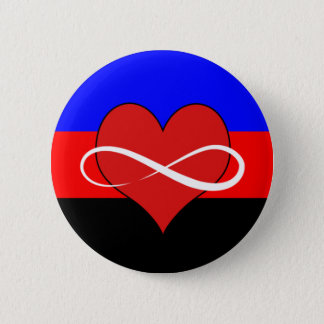 Infinite Heart with Flag 6 Cm Round Badge