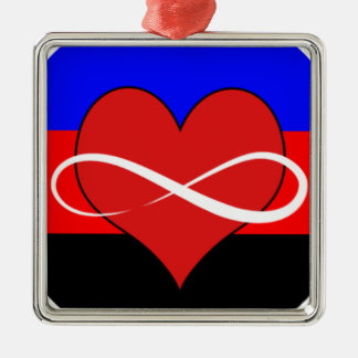 Infinite Heart with Flag Christmas Ornament