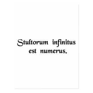 Infinite is the number of fools. postcard