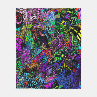 Infinite Psychedelic Rainbow Dimensions Poster Art Fleece Blanket