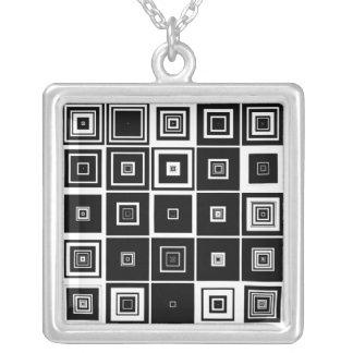 Infinite Squares Square Pendant Necklace