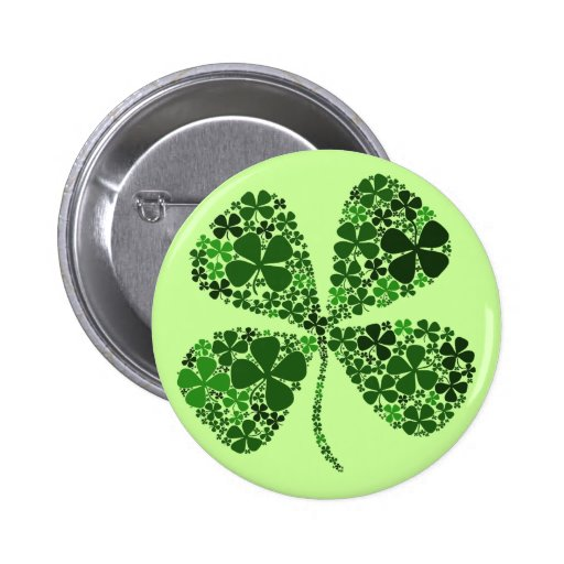 Infinitely Lucky 4-leaf Clover Pinback Button