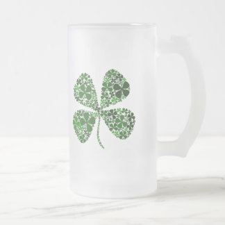 Infinitely Lucky 4-leaf Clover Frosted Glass Beer Mug