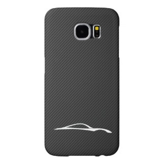 Infiniti G37 White Silhouette on faux carbon fiber Samsung Galaxy S6 Cases