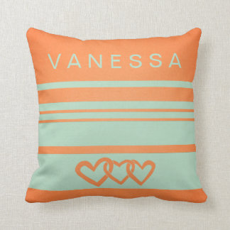 Infinity Heart Orange Nursery Neutral Decor Pillow