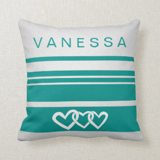 Infinity Heart Teal Stripe Nursery Neutral Decor Cushion