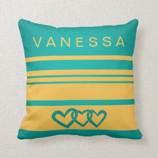 Infinity Heart Yellow Stripe Nursery Neutral Decor Cushion