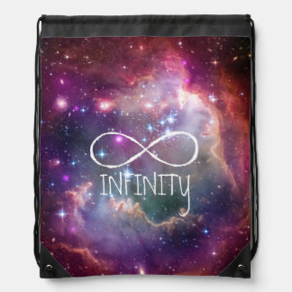 Infinity loop and galaxy space hipster background drawstring bag