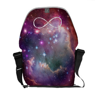 Infinity loop and galaxy space hipster background courier bag