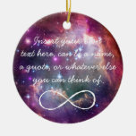 Infinity loop and galaxy space hipster background round ceramic decoration