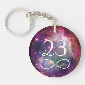 Infinity loop and galaxy space hipster monogram key ring