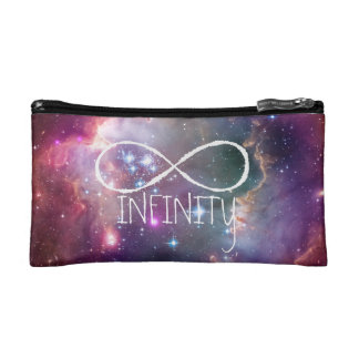 Infinity loop and galaxy space hispter background cosmetics bags