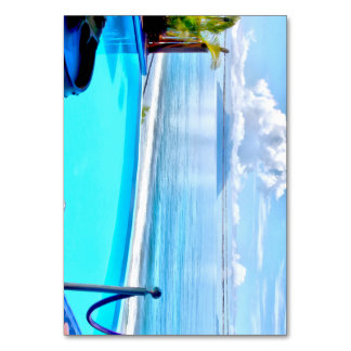 Infinity pool and ocean table card