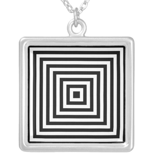 Infinity Squares Black & White Optical Illusion Silver