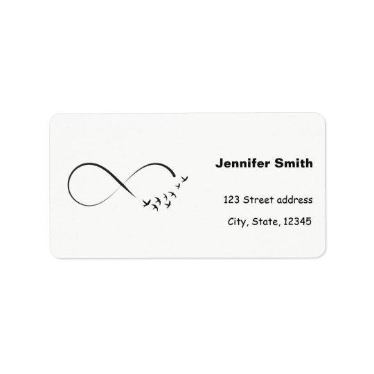Infinity swallow symbol address label