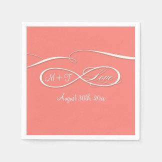 Infinity Symbol Sign Infinite Love Wedding Coral Paper Napkins