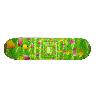 Infinity Wreath Yellow & Pink Tulips Skate Board Decks