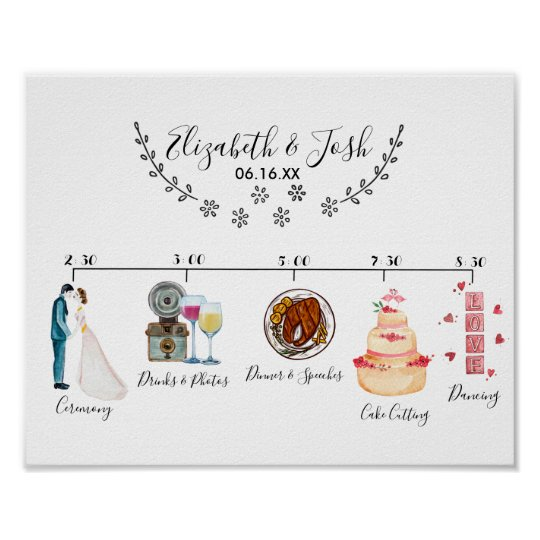 Informal wedding schedule welcome sign zazzle informal wedding schedule welcome sign junglespirit Image collections