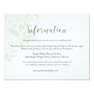 Information Card Vintage Rose Pastels: Smoke Green 11 Cm X 14 Cm Invitation Card