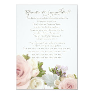 Information Driving Accommodations Floral Rose 11 Cm X 16 Cm Invitation Card